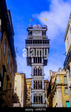 Elevador de Santa Justa, Lisbon, Portugal - Stock Photo