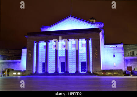 The O2 Guildhall illuminated in purple at night in 2017, Southampton, Hampshire, UK - Stock Photo