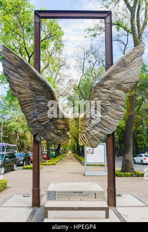 Mexico City, FEB 16: Beautiful wing statue near National Museum of Anthropology on FEB 16, 2016 at Mexico City - Stock Photo