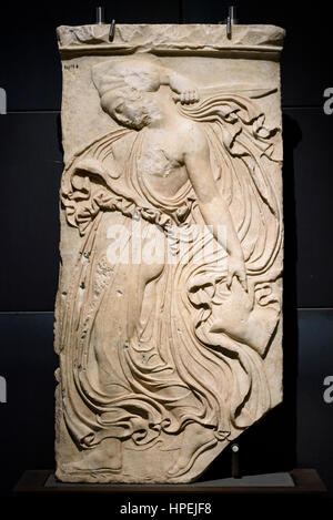 Rome. Italy. Relief of Dancing Maenad, Roman copy, dated 27 BC-14 AD, from an original by Kallimachos 406-405 BC, - Stock Photo