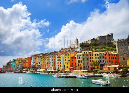 Portovenere old village on the sea. Church and houses. Five lands, Cinque Terre, Liguria Italy Europe. - Stock Photo