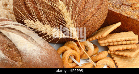 Set bread and bakery products - Stock Photo