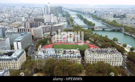 Paris aerial view of Seine river and bridge in Paris France - Stock Photo