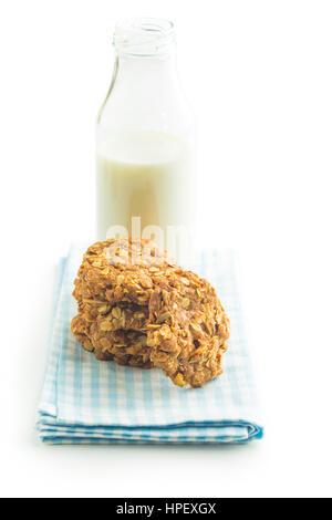 Homemade oatmeal cookies and milk. - Stock Photo