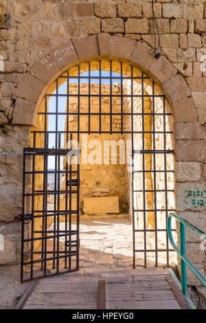 Entrance, crusader castle Karak (Kerak, Al-Karak), Jordan, Asia - Stock Photo