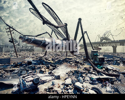 Giant insects destroy the city. 3D concept
