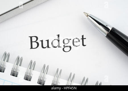 Document budget and pen - Stock Photo