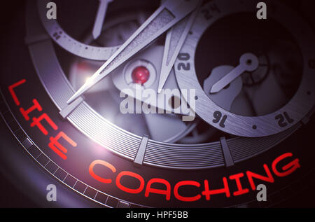 Life Coaching on Vintage Wristwatch Detail, Chronograph Closeup. Luxury Men Pocket Watch with Life Coaching on the - Stock Photo