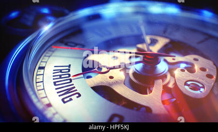 Watch Face with Trading Text on it. Business Concept with Film Effect. Trading. on Pocket Watch Face with Close - Stock Photo