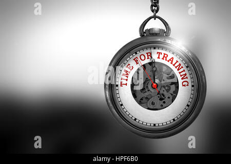 Time For Training on Vintage Pocket Clock Face with Close View of Watch Mechanism. Business Concept. Pocket Watch - Stock Photo