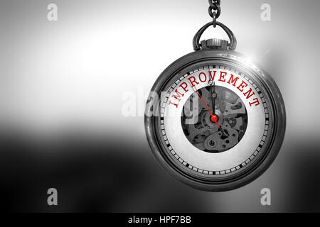 Improvement on Pocket Watch Face with Close View of Watch Mechanism. Business Concept. Improvement Close Up of Red - Stock Photo