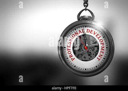 Watch with Professional Development Text on the Face. Business Concept: Pocket Watch with Professional Development - Stock Photo