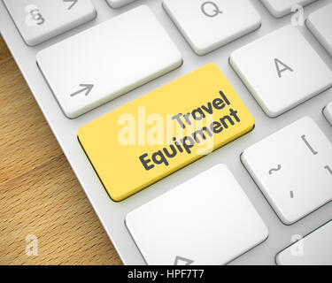 Service Concept: Travel Equipment on Laptop Keyboard lying on Wood Background. White Keyboard Keypad Showing the - Stock Photo