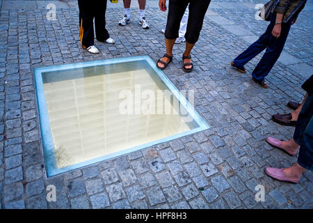 Bebelplatz.Memorial site Nazi book burning.Monument that remembers burns it of books of the library of the university - Stock Photo