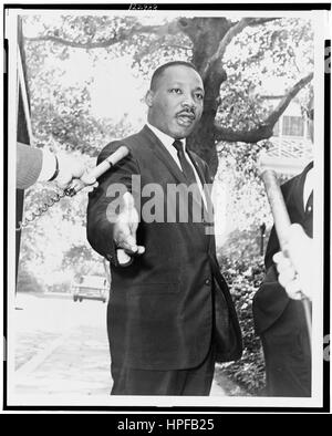 Rev Martin Luther King, Jr at Gracie Mansion press conference, New York, NY, 07/30/1964. - Stock Photo