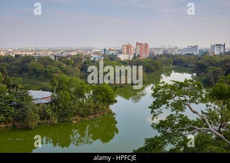Aerial view of Kandawgyi Lake, Bogyoke, Yangon, Myanmar - Stock Photo