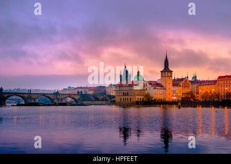 Vltava, Charles Bridge, Bridge Tower, sunrise, historic centre, Prague, Bohemia, Czech Republic - Stock Photo