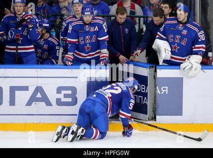 St Petersburg, Russia. 21st Feb, 2017. SKA St Petersburg's Sergei Shirokov (front) in Leg 1 of their 2016/17 Season - Stock Photo