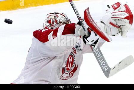 St Petersburg, Russia. 21st Feb, 2017. Vityaz Podolsk's goaltender Harri Sateri in Leg 1 of their 2016/17 Season - Stock Photo