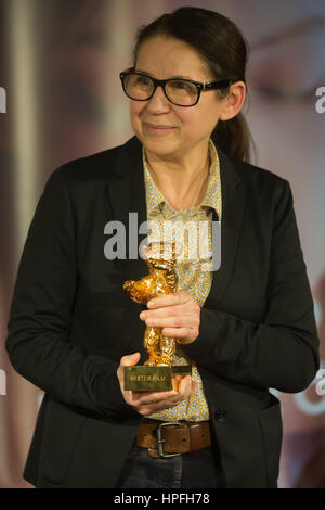 Budapest, Hungary. 21st Feb, 2017. Hungarian director Ildiko Enyedi of the film 'On Body and Soul' attends a press - Stock Photo