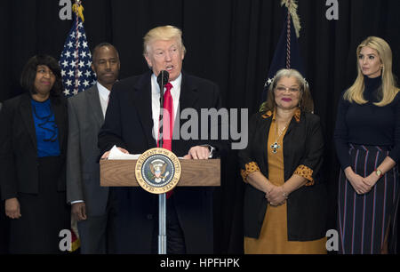 Washington, District of Columbia, USA. 21st Feb, 2017. United States President Donald Trump delivers remarks after - Stock Photo