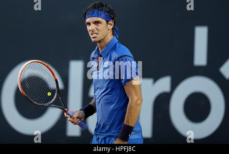Rio De Janeiro, Brazil. 21st February, 2017. Gastao Elias of Portugal reacts during the 1st round singles match - Stock Photo