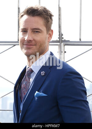 New York, United States. 21st Feb, 2017. NEW YORK-FEB 21: 'This Is Us' actor Justin Hartley visits the Empire State - Stock Photo