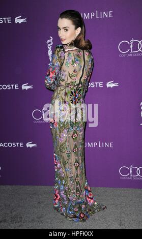 Beverly Hills, CA. 21st Feb, 2017. Lily Collins at arrivals for 19th CDGA (Costume Designers Guild) Awards Presented - Stock Photo