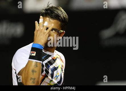 Rio De Janeiro, Brazil. 21st February, 2017. Janko Tipsarevic of Serbia gestures during the 1st round singles match - Stock Photo