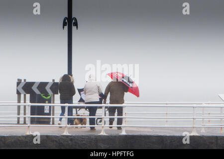 Aberystwyth Wales UK, Wednesday 22 February 2017  UK Weather: Wet and windy conditions in Aberystwyth on the west - Stock Photo