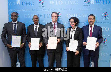 Geneva, Switzerland. 22nd February, 2017. The World Trade Organization (WTO) Director-General Roberto Azevedo (C) - Stock Photo