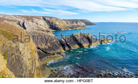 France, Brittany (Bretagne), Finistere department, Crozon. Plage de la Palue on the Presqu'ile de Crozon, Parc naturel - Stock Photo