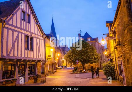 Place du Pilori, at left half timbered house, medieval city, Guerande, Loire-Atlantique, France - Stock Photo