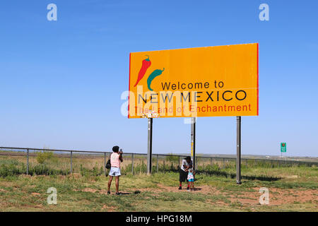 Welcome to New Mexico sign on Interstate 40 / Rte 66 Westbound - Stock Photo
