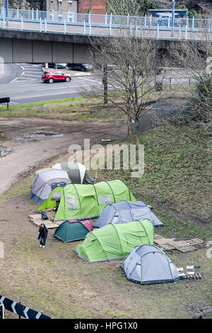 ... Makeshift tent village in the middle of a major roundabout in Sheffield where members of the & People sleeping rough in tents underneath Brighton Pier wake early ...