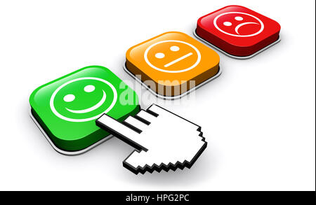 Happy customer feedback concept with hand clicking on positive business quality button. - Stock Photo