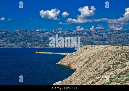 Velebit mountain and channel from Island of Pag - Stock Photo