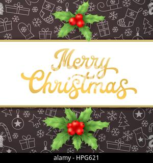 Merry Christmas. Square Xmas card with gold lettering inscription and holly on black background with sleighs, trees, - Stock Photo