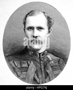 Major-General Sir Herbert Stewart, 1843 - 1885, British soldier, digital improved reproduction of a woodcut from - Stock Photo