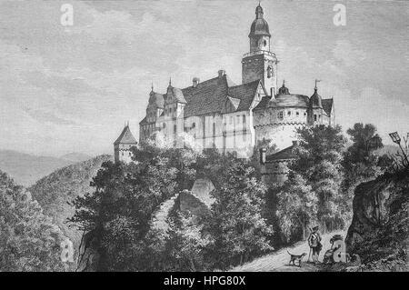 Falkenstein Castle, Burg Falkenstein, also formerly called New Falkenstein Castle, Burg Neuer Falkenstein to distinguish - Stock Photo