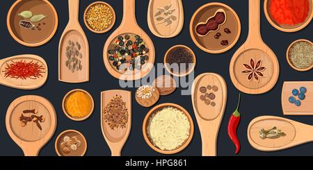 Wooden spoons and bowls with Realistic popular culinary spices. Shop logo. Store sign. Chili pepper, paprika, nutmeg, - Stock Photo