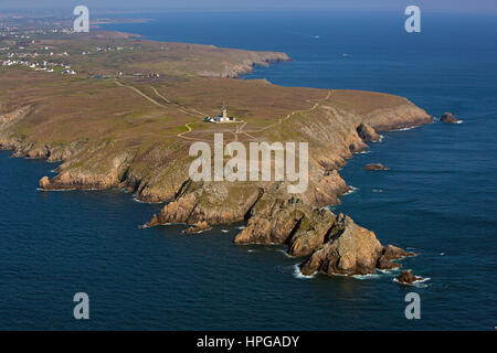 France, Brittany, Finistere, La Pointe du Raz, a site labeled Grand Site de France, aerial view - Stock Photo