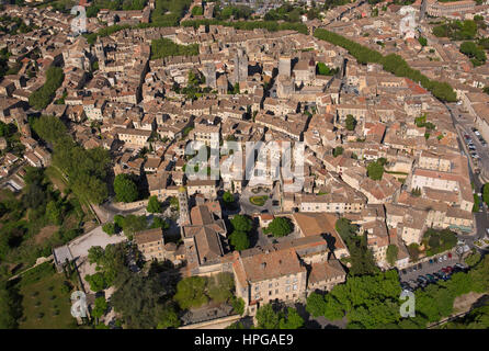 France, Southern France, Gard, Uzes is listed as a town of art and history, aerial view - Stock Photo
