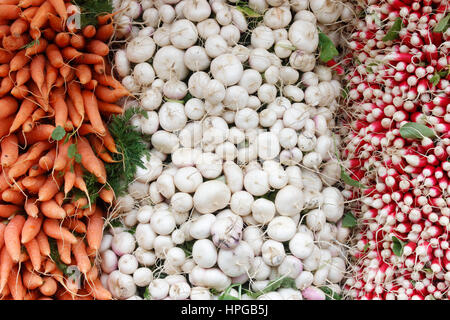 Vegetables on a market stall, closeup on piled up carrots, turnips and radishes - Stock Photo