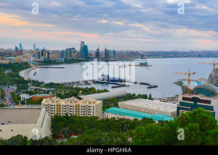 View of the city boulevard in the evening. Baku. Azerbaijan - Stock Photo