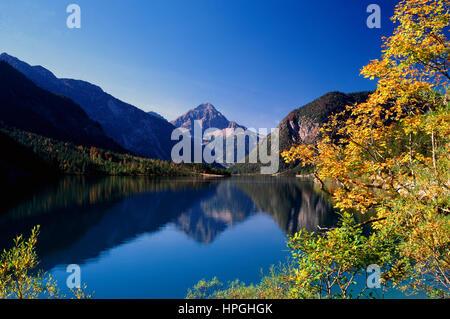Lake Plansee in Autumn, Tyrol, Austria - Stock Photo