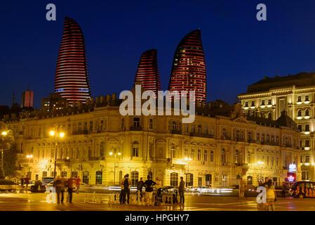 Baku, Azerbaijan - September 10, 2016: Night view of city with Flame Towers from Seaside boulevard. Baku is the - Stock Photo