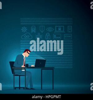 Business concept illustration. Corporate cyber crimes concept. The masked businessman is working with the computer. - Stock Photo