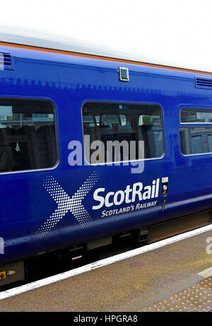 ScotRail Logo on British Rail Class 158 Express Sprinter diesel multiple unit. Kyle of Lochalsh station, Ross and - Stock Photo