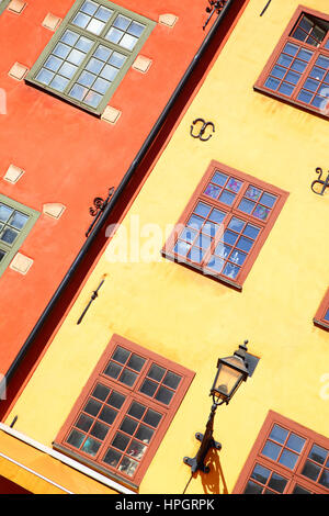 Walls of two the most famous houses on Stortorget place in Stockholm, Sweden - Stock Photo